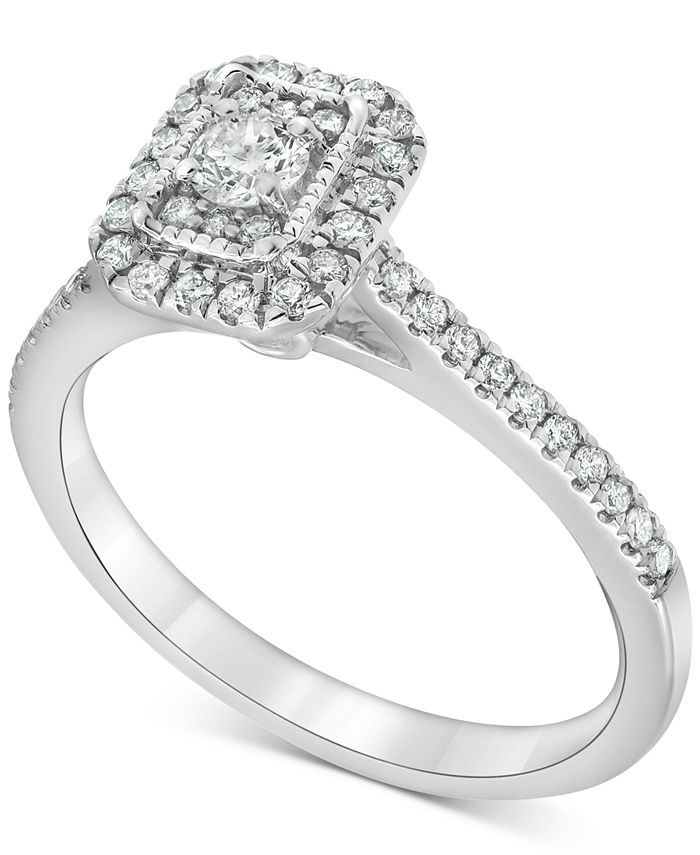 Macy's - Diamond Square Halo Engagement Ring (1/2 ct. t.w.) in 14k White Gold