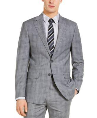 Men's X-Fit Slim-Fit Infinite Stretch Light Gray Blue Plaid Wool Suit Separate Jacket