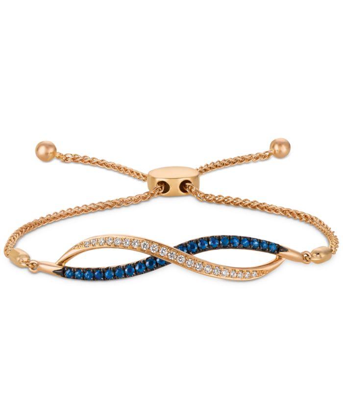 Le Vian Blueberry Sapphire (3/8 ct. t.w.) & Vanilla Diamond (1/6 ct. t.w.) Bolo Bracelet in 14k Rose Gold & Reviews - Bracelets - Jewelry & Watches - Macy's