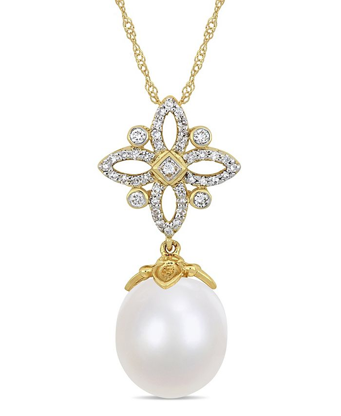 """Macy's - South Sea Cultured Pearl (11-12mm) and Diamond (1/4 ct. t.w.) Floral Drop 17"""" Necklace in 14k Yellow Gold"""