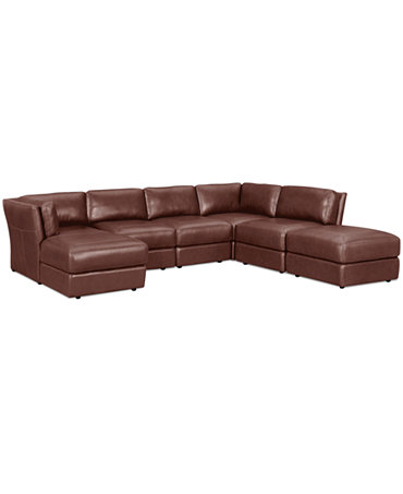 Ramiro leather modular sectional sofa 6 piece square for Armless sectional sofa chaise