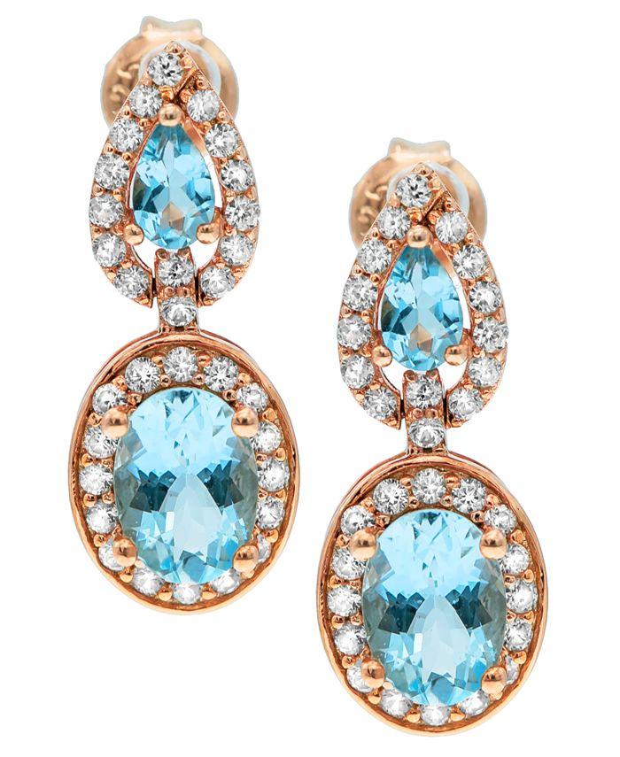Macy's - Aquamarine( 2-3/4 ct. t.w) Diamond (5/8 ct. t.w) Earrings set in 14K Rose Gold