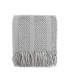 Battilo Solid Knit Mesh Tassels Throw