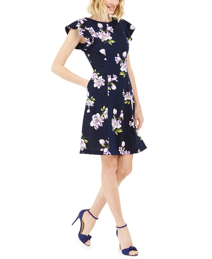 Jessica Howard - Petite Floral-Print Fit-and-Flare Dress