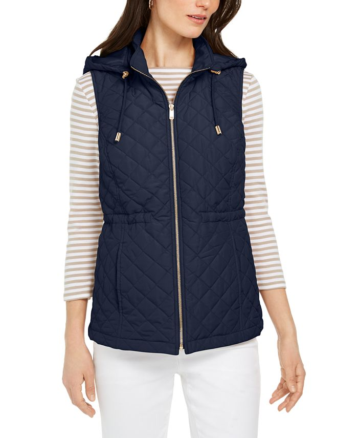 Charter Club - Woven Hooded Quilted Vest