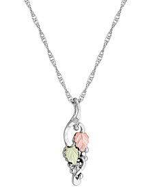 """Grape and Leaf Motif Pendant 18"""" Necklace in Sterling Silver with 12K Rose and Green Gold"""