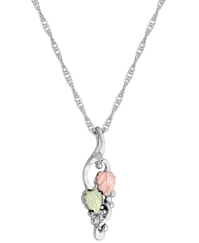"""Black Hills Gold - Grape and Leaf Motif Pendant 18"""" Necklace in Sterling Silver with 12K Rose and Green Gold"""