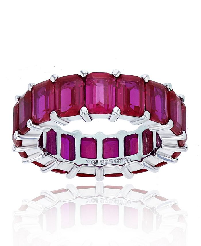 Macy's - Red Cubic Zirconia Eternity Band in Rhodium Plated Sterling Silver