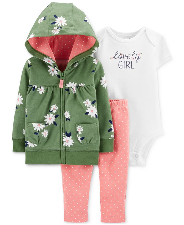 Carter's - Baby Girls 3-Pc. Cotton Lovely Girl Hoodie, Bodysuit & Leggings Set