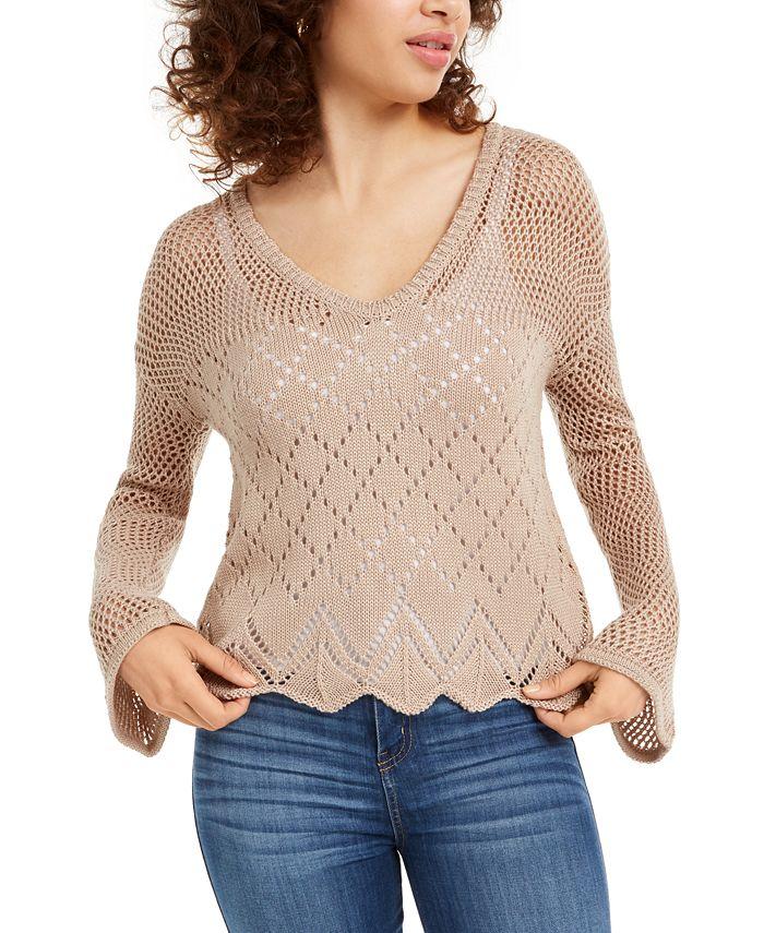 Ultra Flirt - Juniors' Pointelle-Knit Pullover Sweater