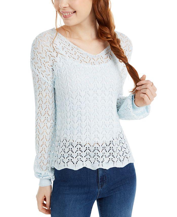 Freshman - Juniors' Pointelle-Knit Strap-Back Sweater