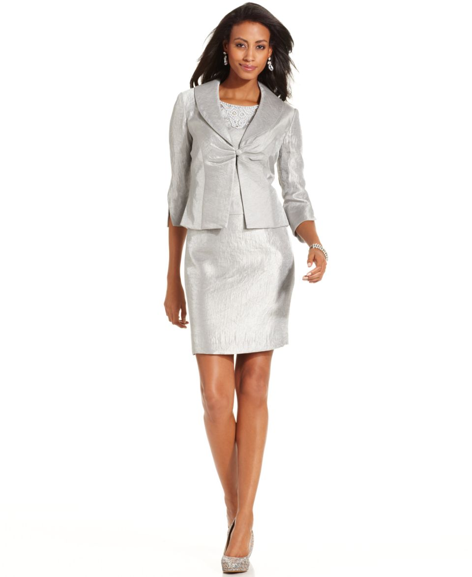 Jessica Howard Petite Dress and Jacket, Sleeveless Faux Pearl Sheath   Dresses   Women