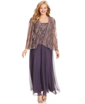 Patra Plus Size Jacket & Dress, Metallic Lace-Top Gown