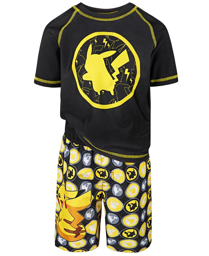 Dreamwave - Little Boys 2-Pc. Pikachu Rash Guard & Swim Trunks Set