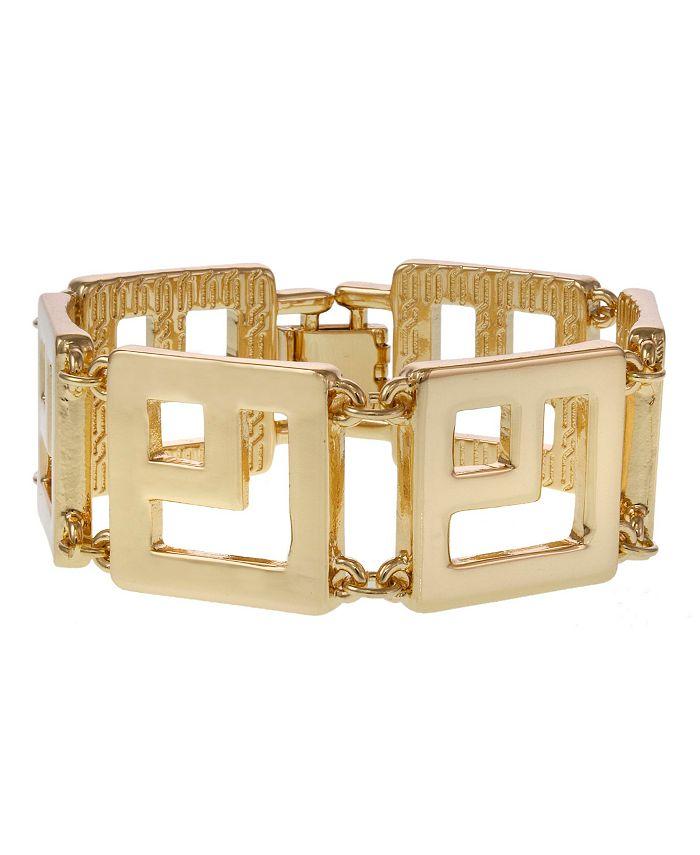 Christian Siriano New York - Gold Tone Square Link Clasp Bracelet