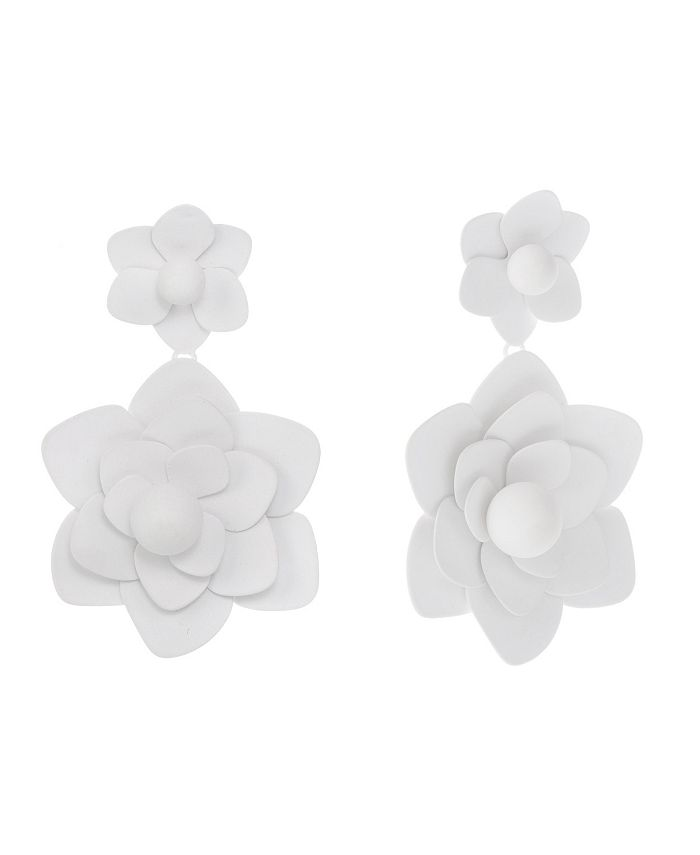Christian Siriano New York - Gold Tone and White Flower Drop Clip Earrings