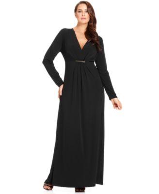 Black Long Sleeve Maxi Dress Plus Size