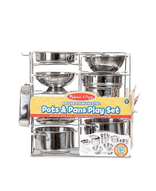 Melissa And Doug Melissa Doug Deluxe Stainless Steel Pots Pans Play Set Pretend Cooking 15 Pcs Reviews Home Macy S