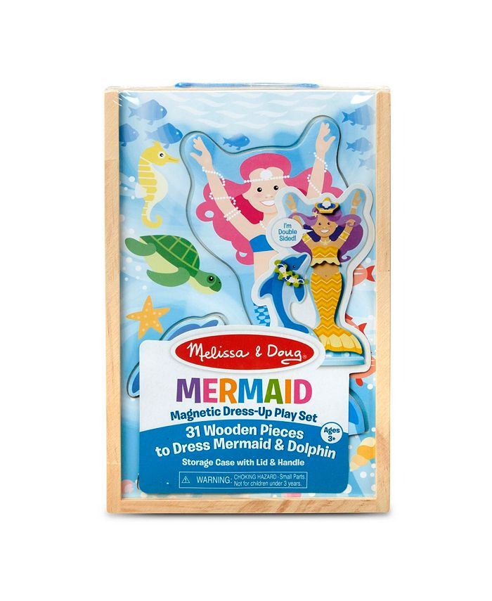 Melissa and Doug - Mermaid Dolphin Magnetic Dress-Up Wooden Dolls Pretend Play Set 35 pcs