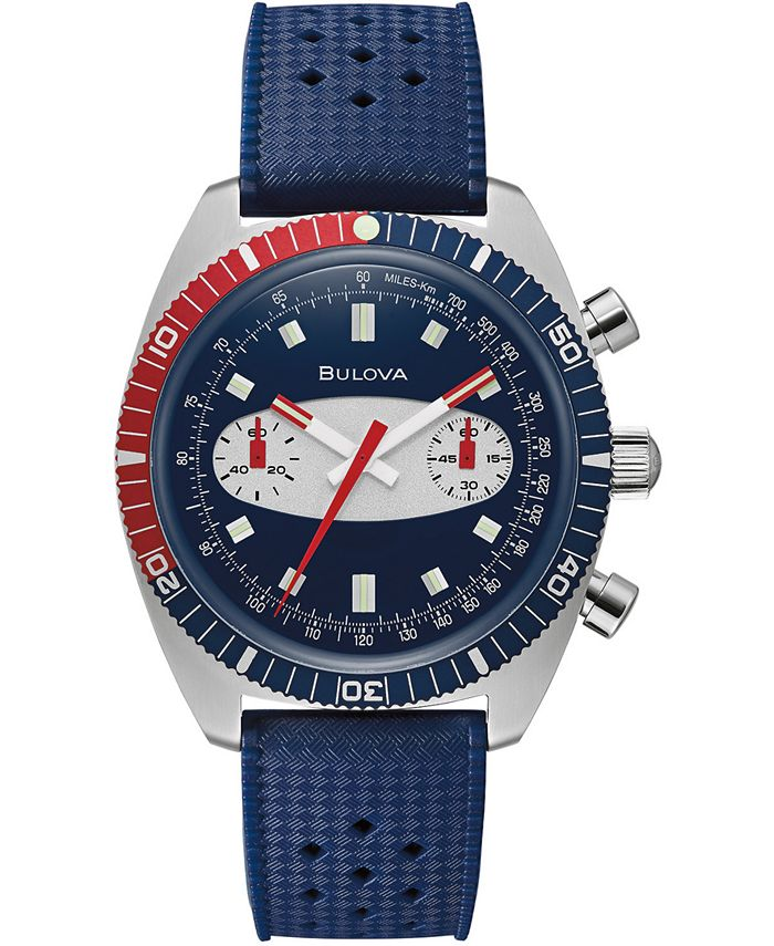 Bulova - Men's Chronograph Archive Surfboard Blue Silicone Strap Watch 40.5mm