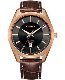 Citizen Men's Quartz Brown Leather Strap Watch 42mm
