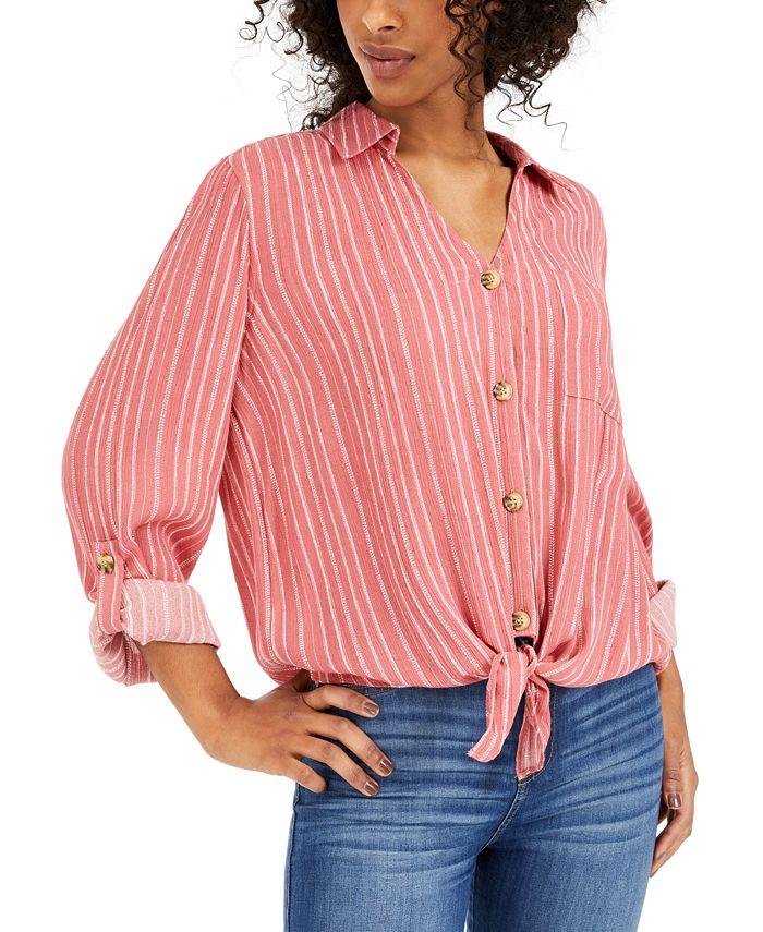 Hippie Rose - Juniors' Tie-Front Shirt