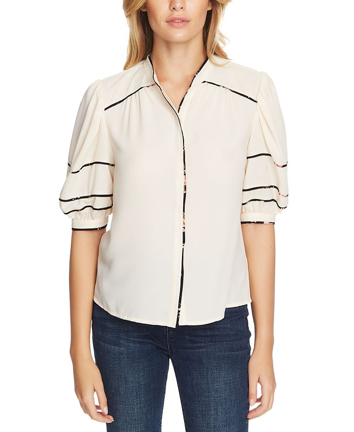 1.STATE - Collarless Contrast-Trim Blouse