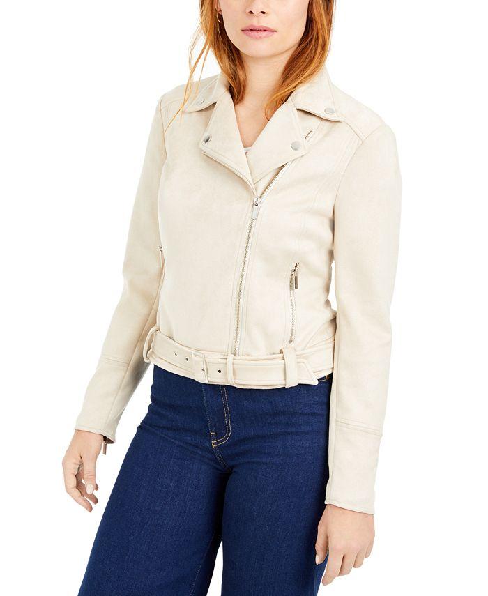Bar III - Faux-Suede Asymmetrical Zip-Front Jacket