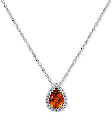 "Citrine (5/8 ct. t.w.) & Diamond Accent Teardrop 18"" Pendant Necklace in 14k White Gold"