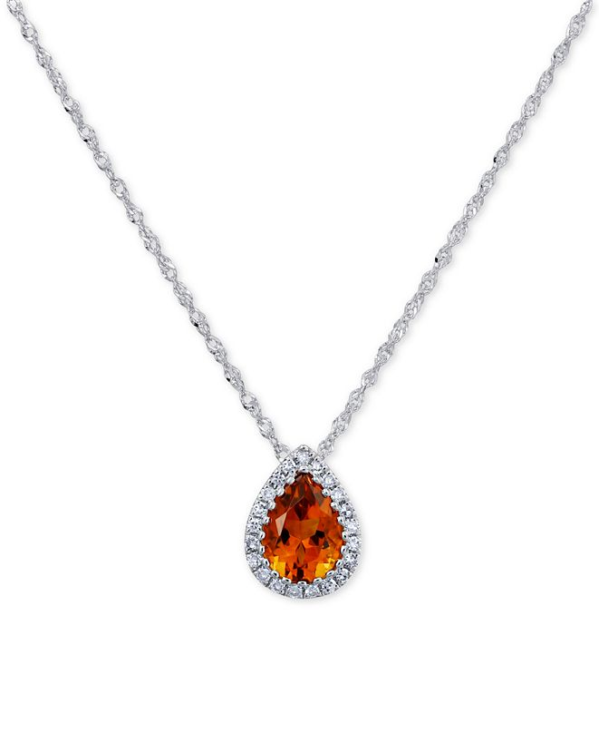 "Macy's Citrine (5/8 ct. t.w.) & Diamond Accent Teardrop 18"" Pendant Necklace in 14k White Gold"