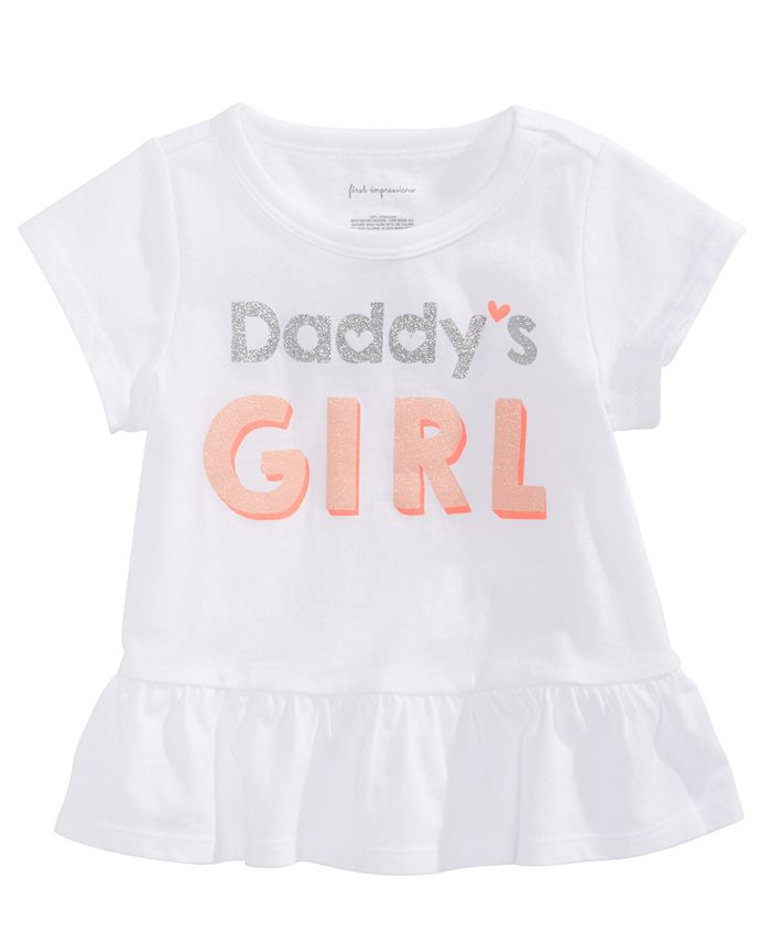 First Impressions - Baby Girls Daddy's Girl-Print Cotton T-Shirt