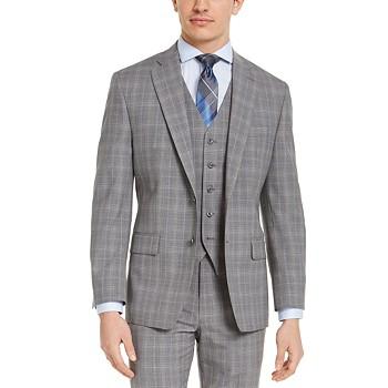 Michael Kors Men's Classic-Fit Airsoft Stretch Gray Plaid Wool Suit Jacket