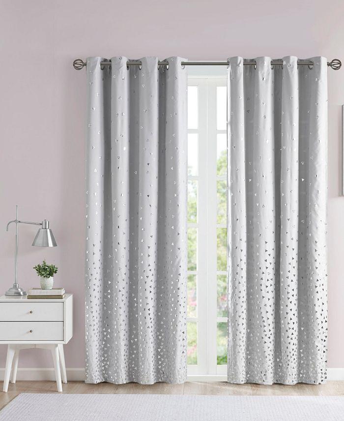 "Intelligent Design - Zoey 50"" x 84"" Printed Metallic Blackout Curtain Panel"
