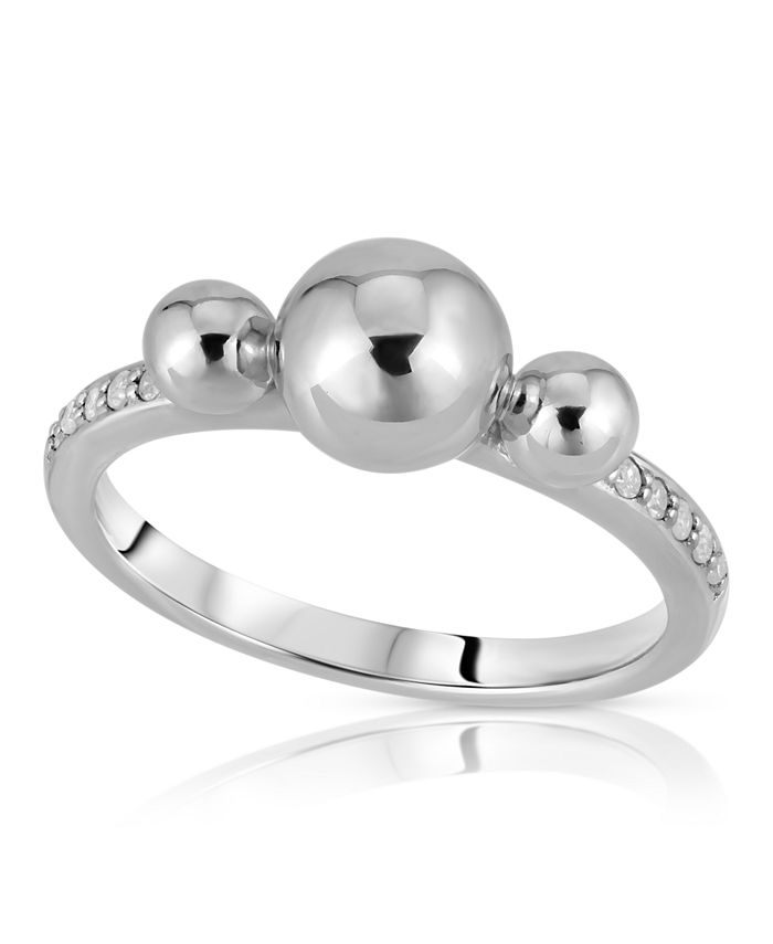 Macy's - Diamond 1/10cttw 3 Bubble Ring Designed in 14k Rose Gold over Sterling Silver