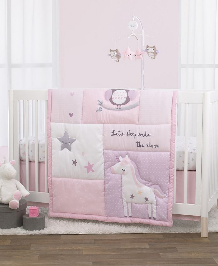 NoJo - NoJo Unicorn, Owl and Stars 3-Piece Crib Bedding Set
