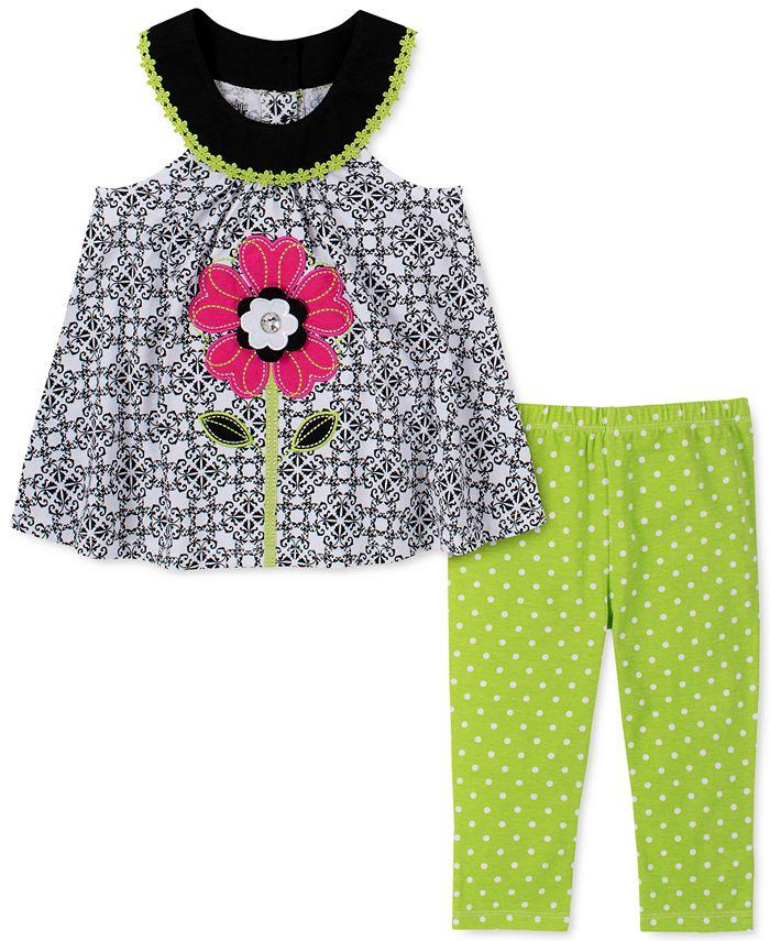 Kids Headquarters - Toddler Girls 2-Pc. Flower Tunic & Printed Leggings Set