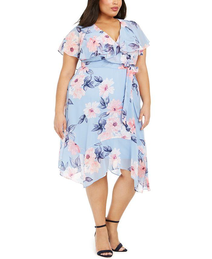 Jessica Howard - Plus Size Floral Capelet Dress