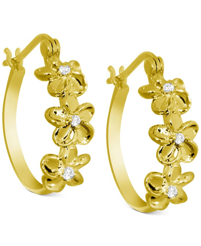 Kona Bay - Crystal Flower Hoop Earrings in Gold-Plate