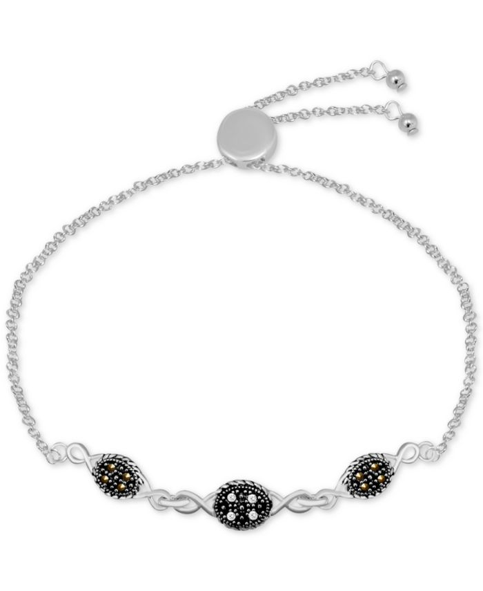 Macy's Genuine Swarovski Marcasite & Crystal Oval Link Adjustable Bracelet in Fine Silver-Plate & Reviews - Bracelets - Jewelry & Watches - Macy's