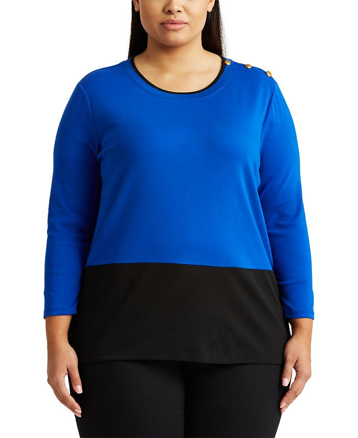 Lauren Ralph Lauren - Plus-Size Color-Blocked Sweater