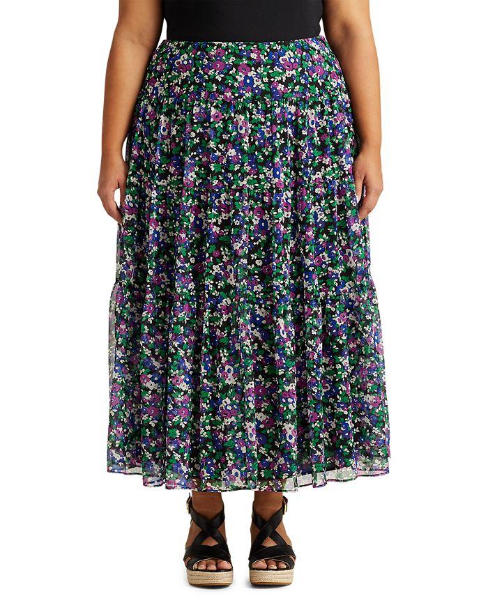 Lauren Ralph Lauren - Plus-Size Floral Tiered Georgette Skirt