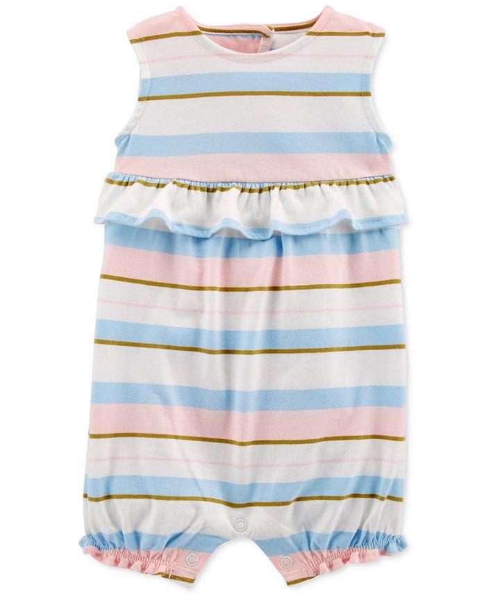 Carter's - Baby Girls Striped Ruffle Cotton Romper
