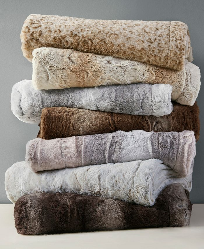 "Madison Park - Zuri Reversible Oversized 60"" x 70"" Faux-Fur Throw"