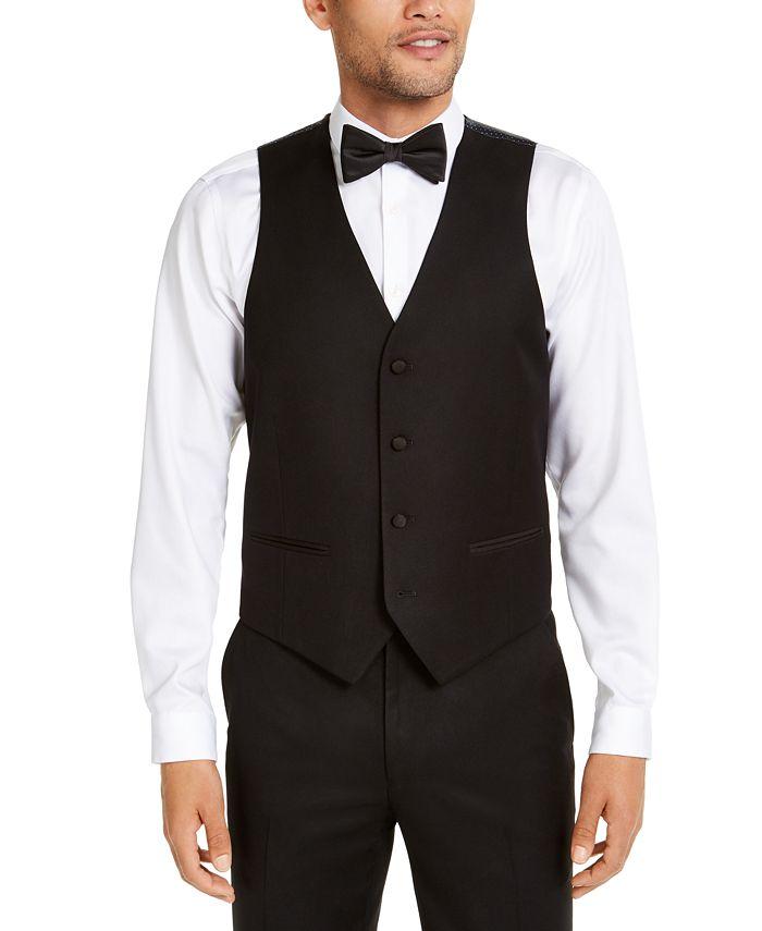 Alfani - Men's Classic-Fit Stretch Black Twill Suit Vest