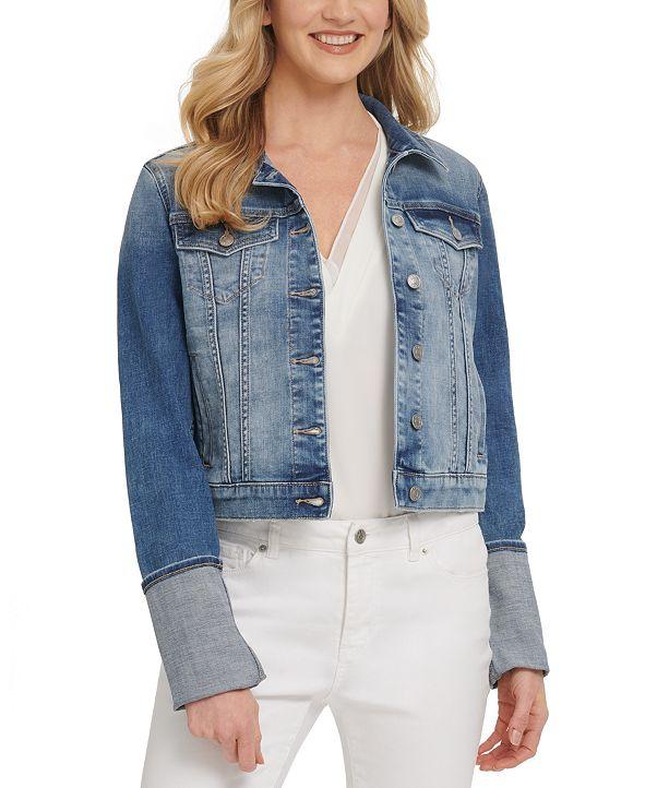 DKNY Jeans Rolled-Cuff Denim Trucker Jacket