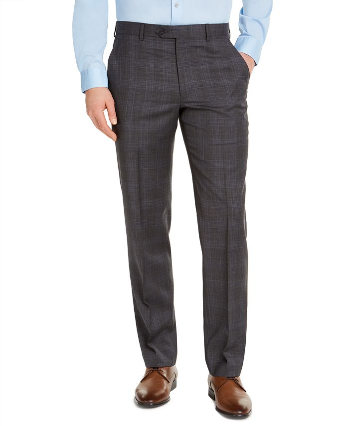 Michael Kors - Men's Classic-Fit Airsoft Stretch Charcoal Plaid Suit Pants