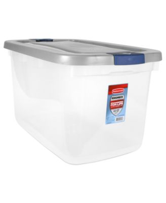 8pc Rubbermaid Roughneck Clear 66-Qt. Storage Tote Boxes with Silver Lids