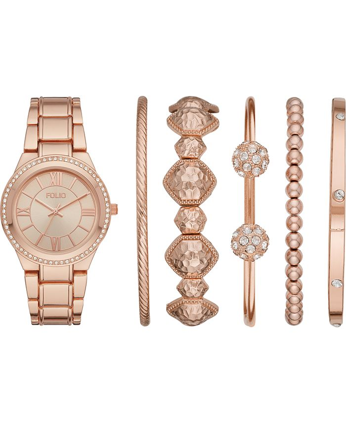 Folio - Women's Rose Gold-Tone Bracelet Watch 37mm