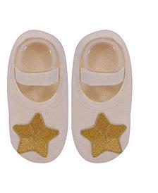 Nwalks Baby Boys and Girls Anti-Slip Cotton Socks with Golden Star Applique