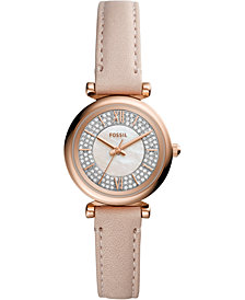 Fossil Women's Carlie Mini Blush Leather Strap Watch 28mm